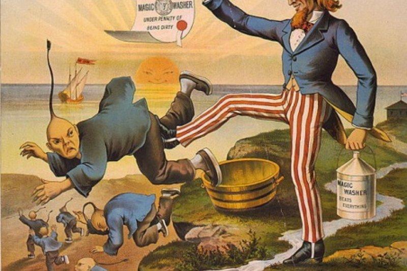 美國當時討論《排華法案》的政治漫畫。(Wikipedia/Public Domain)