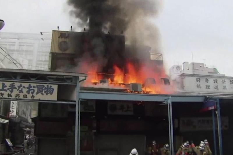 築地市場3日傳出火災。(美聯社)