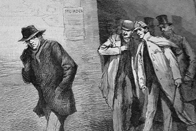 1888年10月13日《倫敦新聞畫報》的一幅插畫,題為「可疑人物」,描繪當時倫敦東部發生連續殺人案卻找不出凶手的恐慌情緒(Wikipedia/Public Domain)