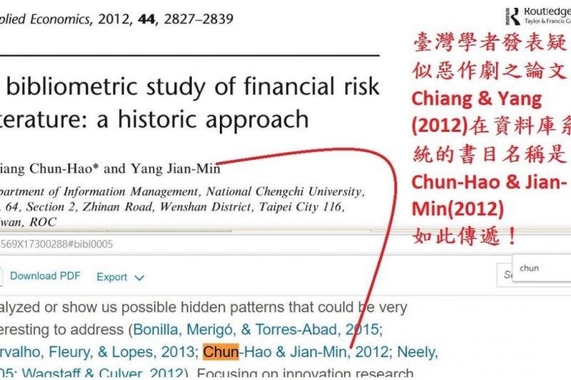 圖1: 臺灣學者論文之英文「姓名」呈現,不符合通用慣例。(作者提供)