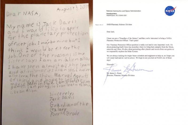傑克的應徵信(左)與NASA的回信(取自NASA推特)