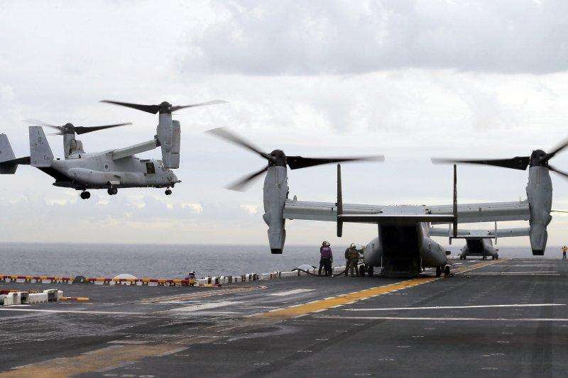 美軍的MV-22魚鷹直升機。(美聯社)