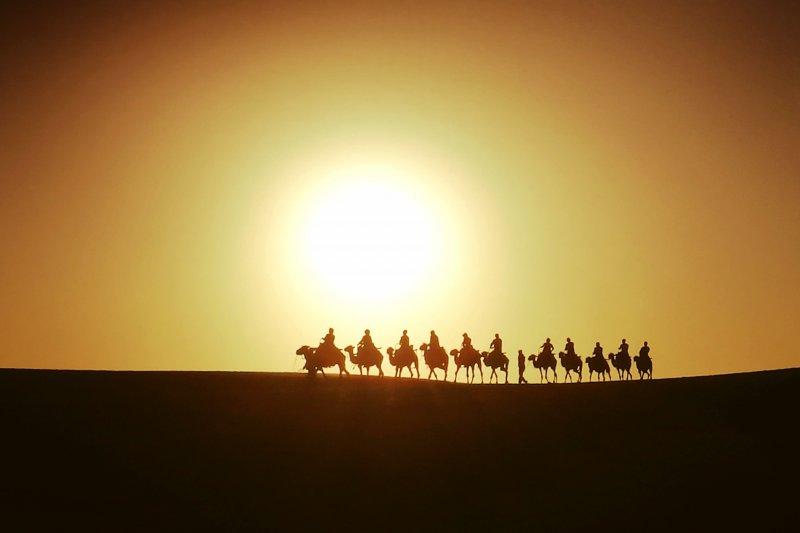 絲路上的駱駝隊(圖/作者提供)