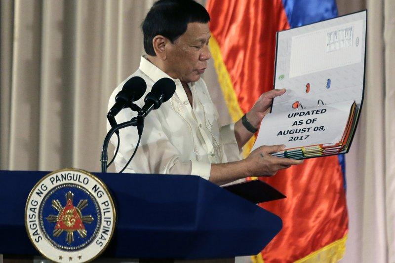 菲律賓總統杜特蒂稱,若人權團體妨礙掃毒,將下令警察開槍射殺(AP)