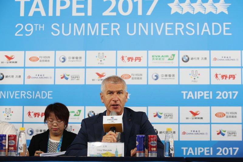 國際大學運動總會(FISU)主席Oleg Matytsin與世大運副主任委員陳景峻,共同召開國際記者會。(2017臺北世大運組委會提供)