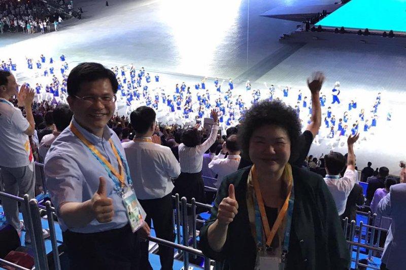 台中市長林佳龍和高雄市長陳菊都出席了世大運。(林佳龍臉書)