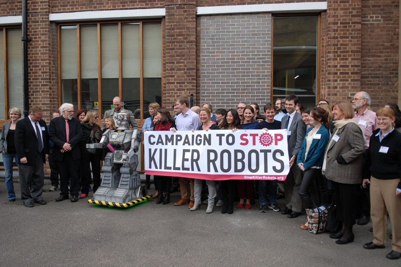 反對殺手機器人的活動。(Campaign to Stop Killer Robots@ Wikipedia/ CC BY 2.0)