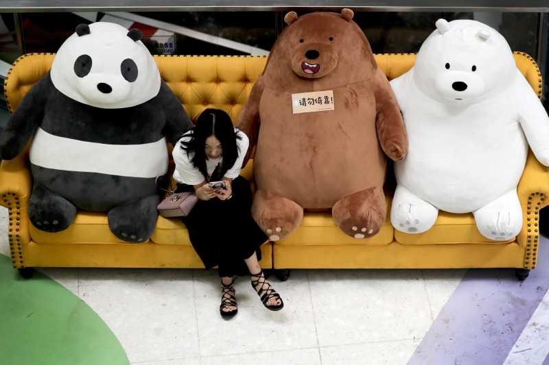 中國賣場的熊熊娃娃。選圖的原因單純只是可愛。(美聯社)