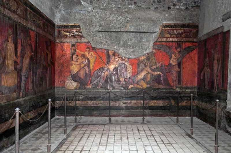龐貝神秘別墅的壁畫(gisleh@Wikipedia/CC BY-SA 2.0)