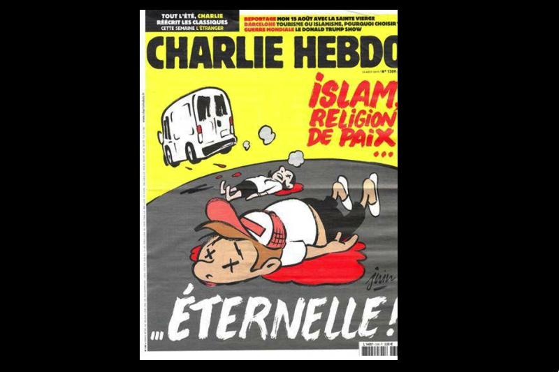 法國諷刺漫畫《查理周刊》最新一期封面以巴塞隆納恐攻為主題。(圖/Charlie Hebdo網站)