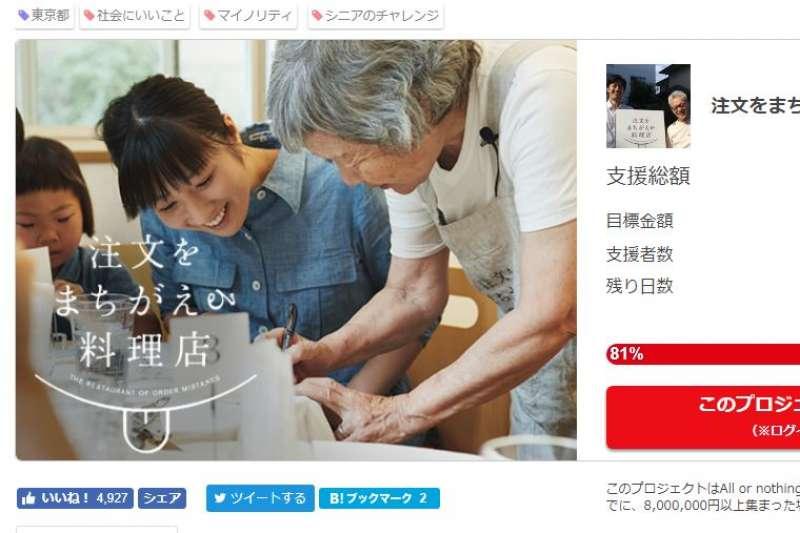 日本照護人員等推出特殊餐廳,除廚師外,服務生都是失智症患者。(翻攝募款網站)