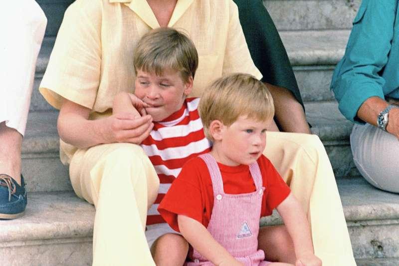 英國黛安娜王妃與兩個小王子威廉、哈利,攝於1987年8月9日(AP)