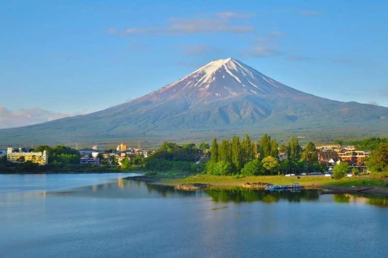 在清晨及日落河口湖天氣好、沒起風的時間,在湖中看到富士山的倒影,就叫逆富士。(圖/FAST JAPAN提供)