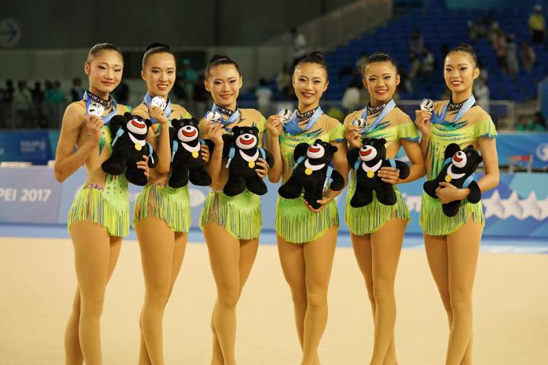 中華隊在韻律體操團隊單項五環中,在8個參賽隊伍中,名列第4。(資料照,大專體總提供)