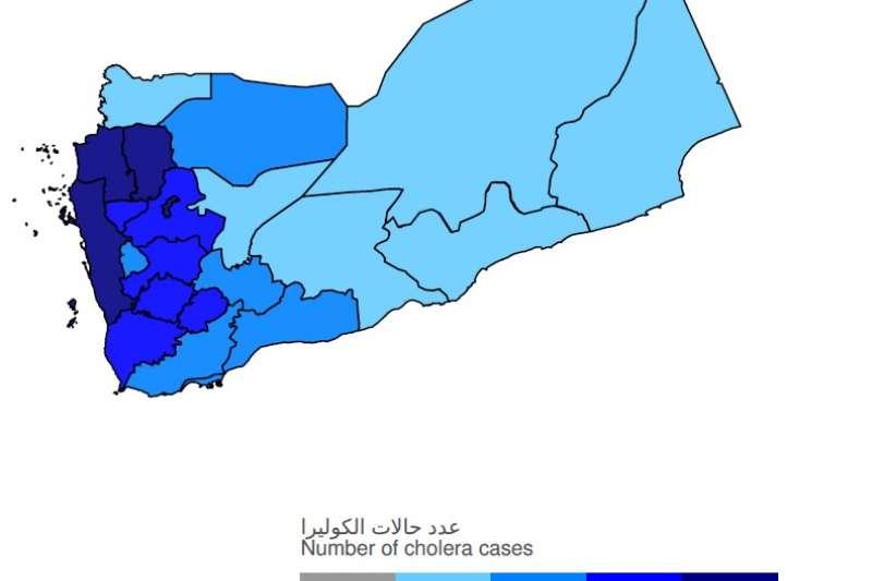WHO葉門霍亂報告書裡的葉門霍亂案例分布圖,圖中可見胡塞組織控制的葉門西北部案例最多。(取自葉門霍亂報告書)