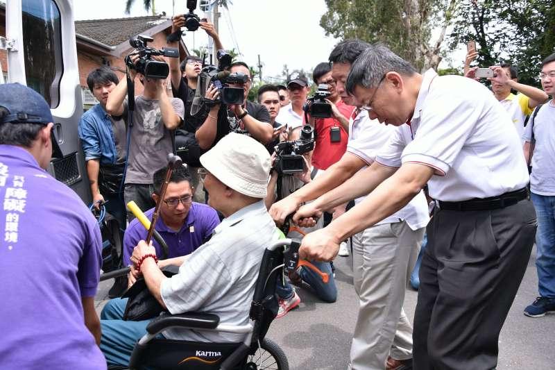 台北市長柯文哲今(31)日上午前往士林官邸參加由社會局舉辦的銀髮樂活行記者會。(台北市政府提供)