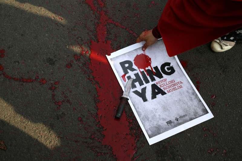 印尼民眾發起抗議,聲援緬甸羅興亞人。(美聯社)