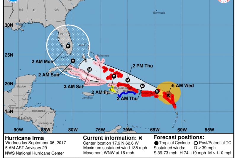 美國國家颶風中心美東時間6日上午5時發布的艾瑪颶風預測路徑。(取自美國國家颶風中心)