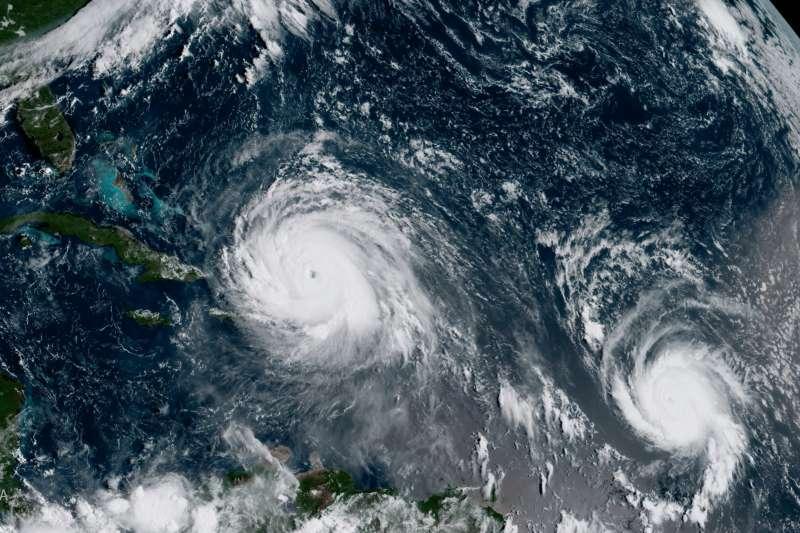 颶風「艾瑪」(Irma,左)與「荷西」(Jose)(AP)