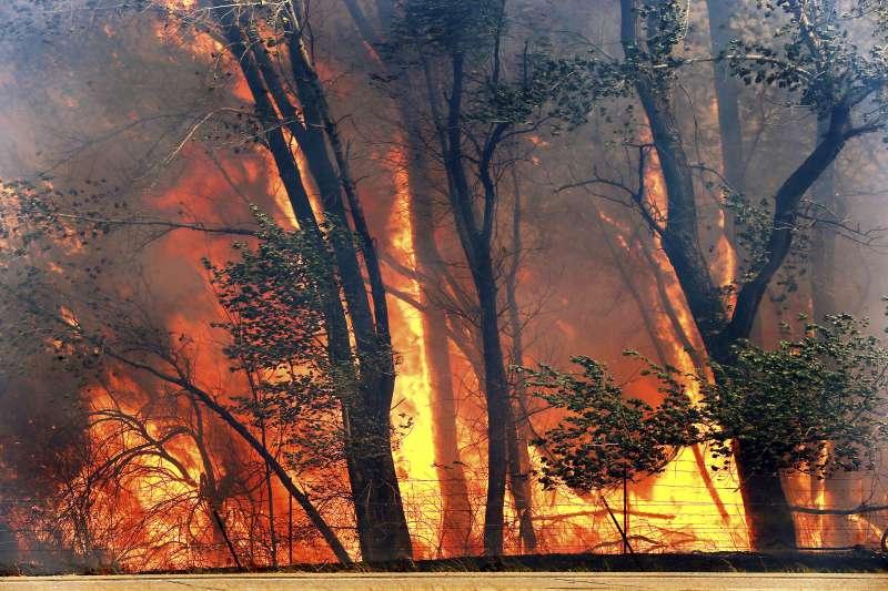 美國西部野火:猶他州韋伯峽谷(Weber Canyon)的野火(AP)