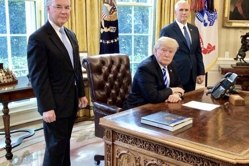 美國總統川普的內閣團隊空缺一堆,成了他執政效力不彰的原因(張經義攝)