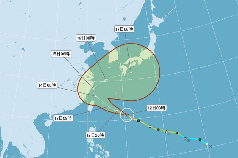 泰利颱風路徑北偏,登陸台灣或成西北颱機率低,但暴風圈仍會影響北台灣,預計11時30分發布海上颱風警報。(圖/取自中央氣象局)