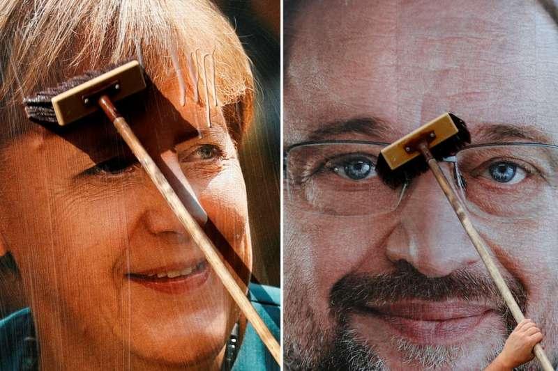 梅克爾與她的主要對手舒爾茨,誰會成為德國總理?(BBC中文網)