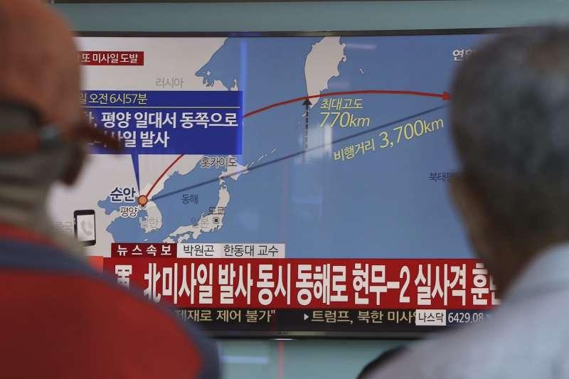 15日的北韓飛彈一共飛行3700公里,最後落在太平洋海域。(美聯社)