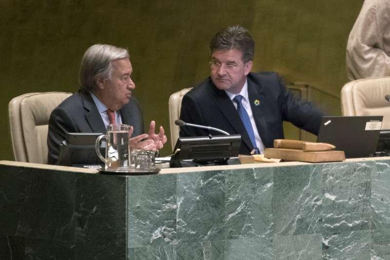 聯合國大會總辯論:聯合國秘書長古特雷斯(左)與聯大主席萊恰克(AP)