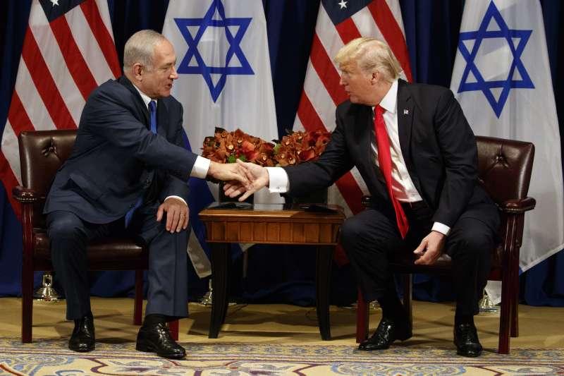 以色列總理納坦亞胡(左)與川普(右)。(美聯社)