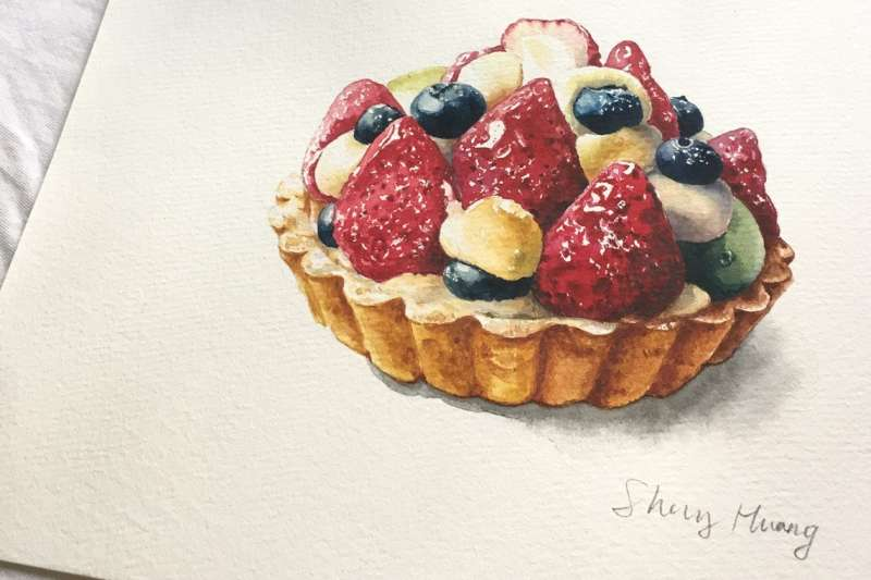 雪莉用甜點與世界各地喜愛美食和繪畫的人們交朋友。(圖/擷取自雪莉畫日誌粉絲專頁)