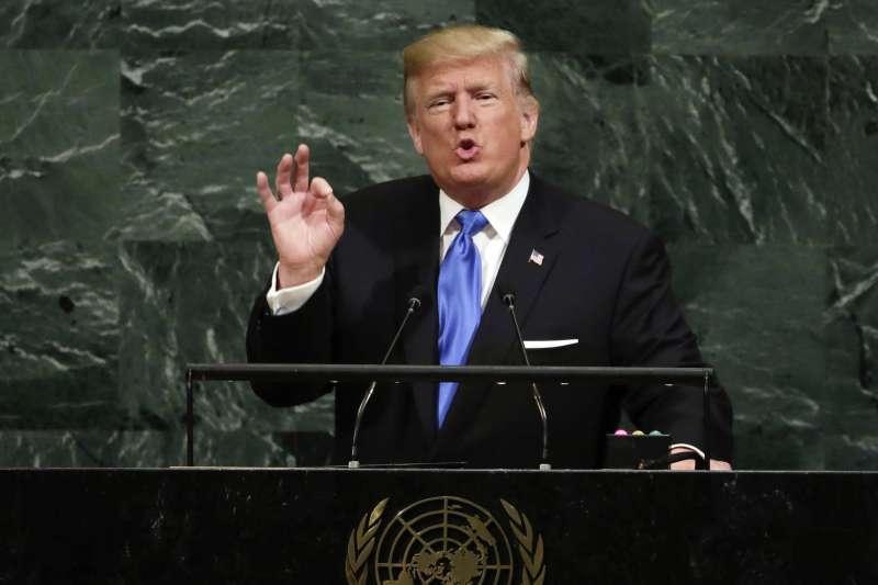 美國總統川普19日首度在聯合國大會總辯論前發表演說。(美聯社)