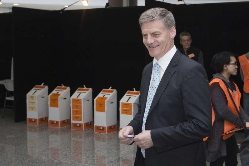 紐西蘭現任總理英格利希23日投票(AP)