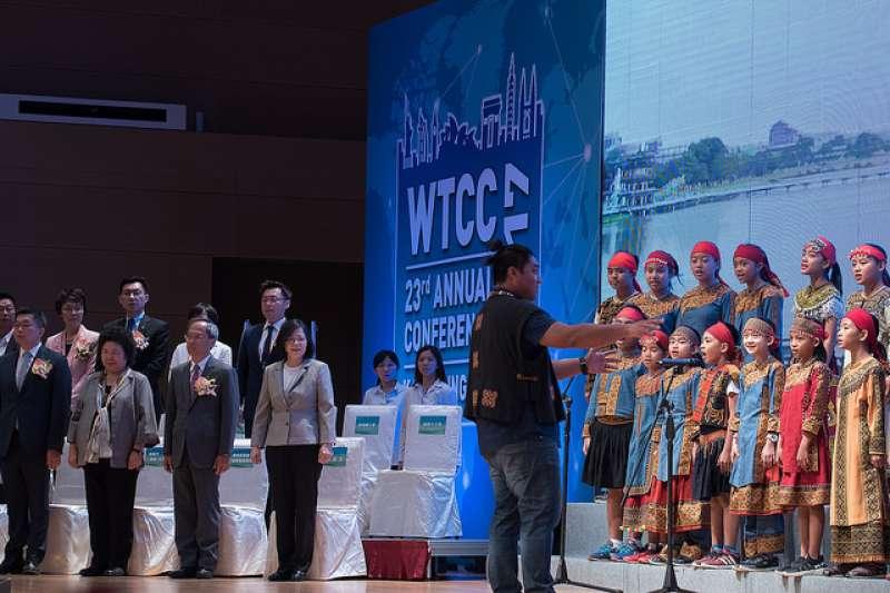蔡英文出席「世界台灣商會聯合總會第23屆年會」,看好台灣經濟發展。(資料照,總統府提供)