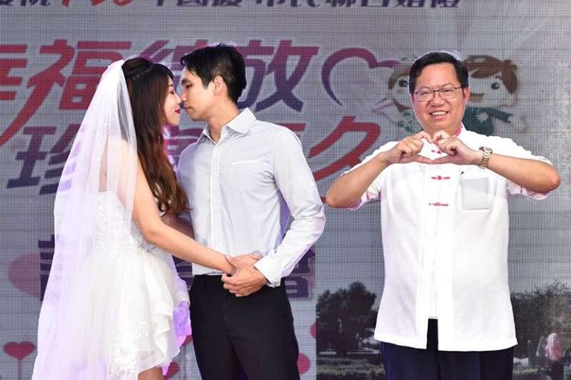 桃園市106年國慶市民聯合婚禮,市長鄭文燦將為百對佳偶證婚。(圖/桃園市新聞處提供)
