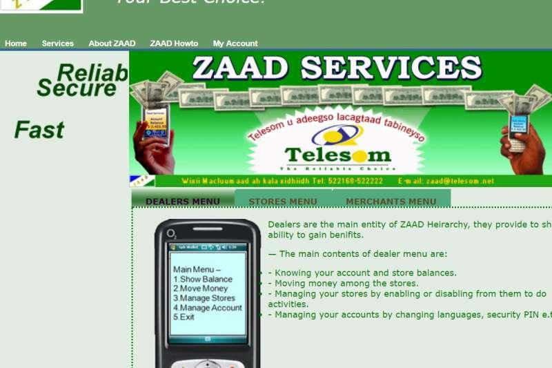 Telesom公司網站上介紹的Zaad行動支付系統,主打安心、安全、迅速。(截自Telesom官網)