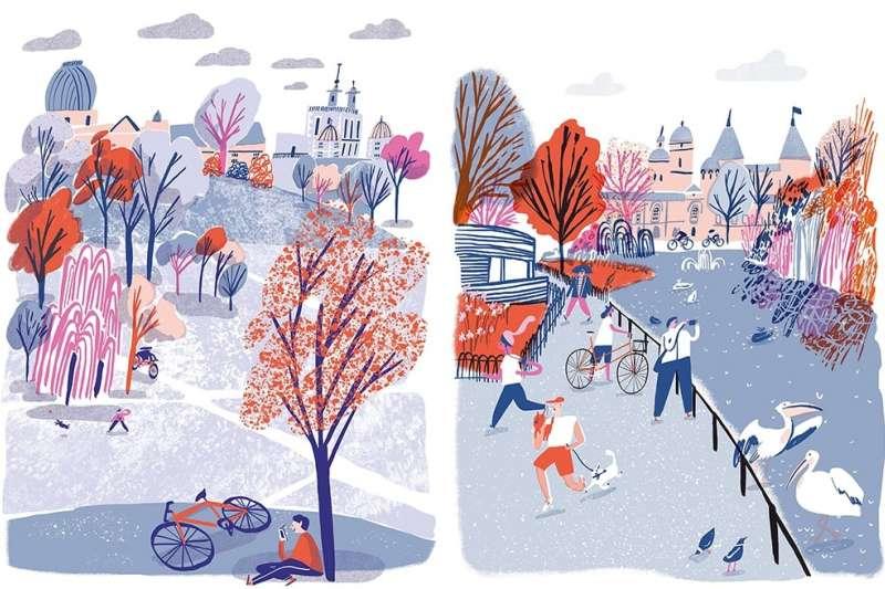 Hannah Warren的插畫用色豐富、圖案活潑,令人看了心情愉快。(圖/城市美學新態度提供)