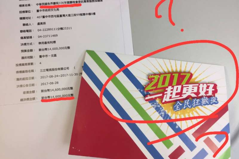 國民黨發言人洪孟楷質疑,「中華民國各界慶祝106年國慶晚會」竟然硬生生變成了「全民狂歡夜」。(取自洪孟楷-為您發聲、聲聲不息臉書)