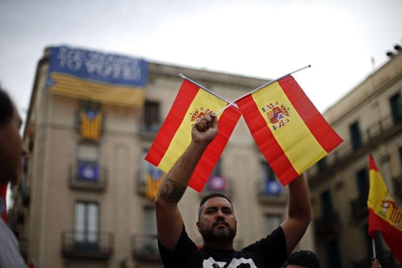 加泰隆尼亞公投:西班牙馬德里舉行反獨立遊行(AP)