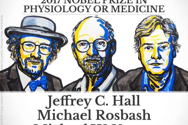 2017年諾貝爾生理學或醫學獎得主霍爾(Jeffrey C. Hall)、羅斯巴赫( Michael Rosbash )以及楊麥可(Michael W. Young)(諾獎官網)