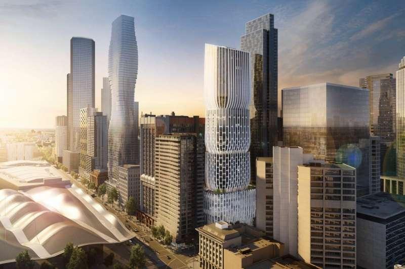 墨爾本文華東方將於 2023 年在澳洲揭幕,是由知名建築師 Zaha Hadid 所設計。外觀宛如四個花瓶堆疊起來,內部又分割成一個個的小花瓶。總高有185 米、54 層樓的建築提供 196 個客房。(圖/翻攝自 Zaha Hadid 官網)