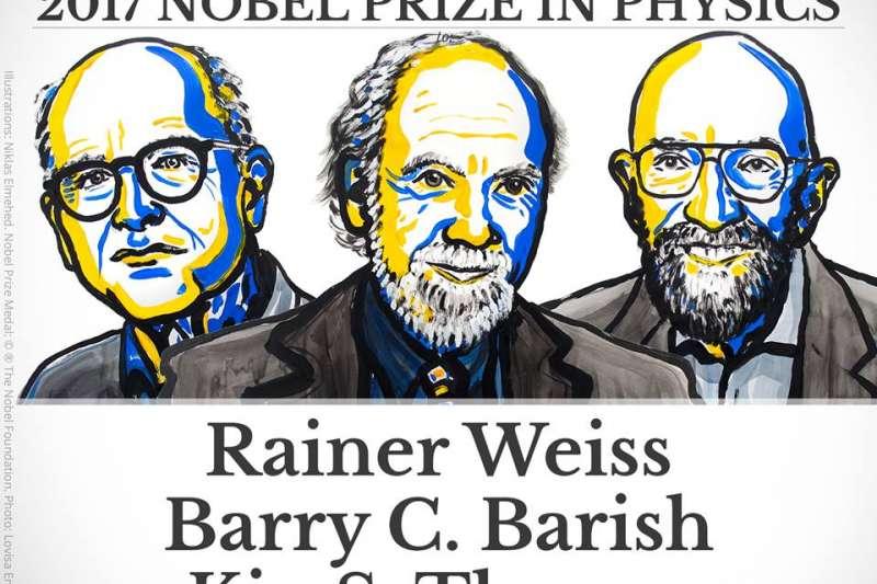 2017諾貝爾物理學獎得主:德國學者韋斯 (Rainer Weiss)、美國學者巴瑞許(Barry C. Barish)、美國學者索恩(Kip S. Thorne)(諾獎委員會)