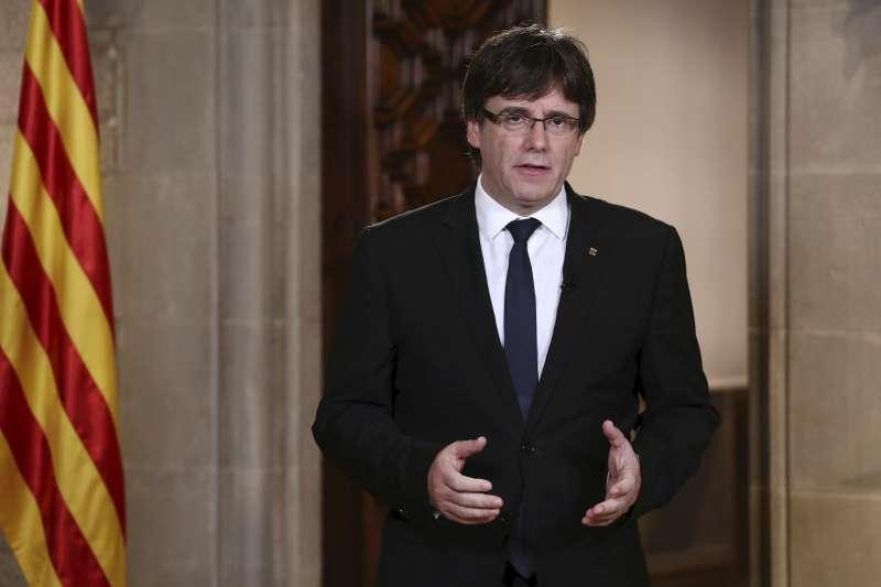 加泰隆尼亞自治區主席普吉蒙德批評西班牙國王與首相「罔顧加泰百萬人民心聲」。(美聯社)