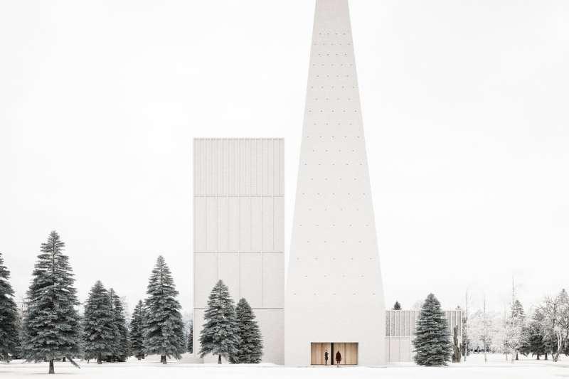 即將座落於芬蘭雪地,造型極簡的通天尖塔教堂,純淨設計令人更感神聖。(圖/取自Designboom)