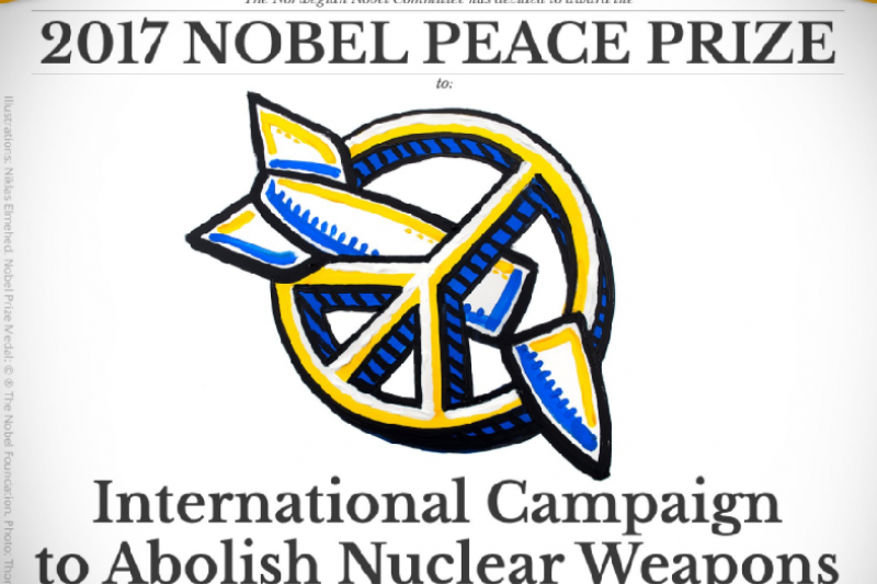 2017年諾貝爾和平獎得主是「國際廢除核武運動」(ICAN)(取自諾貝爾官網)
