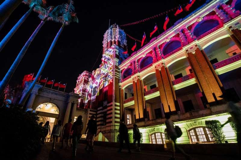 總統府今年首次安排了國慶光雕秀。(總統府提供)