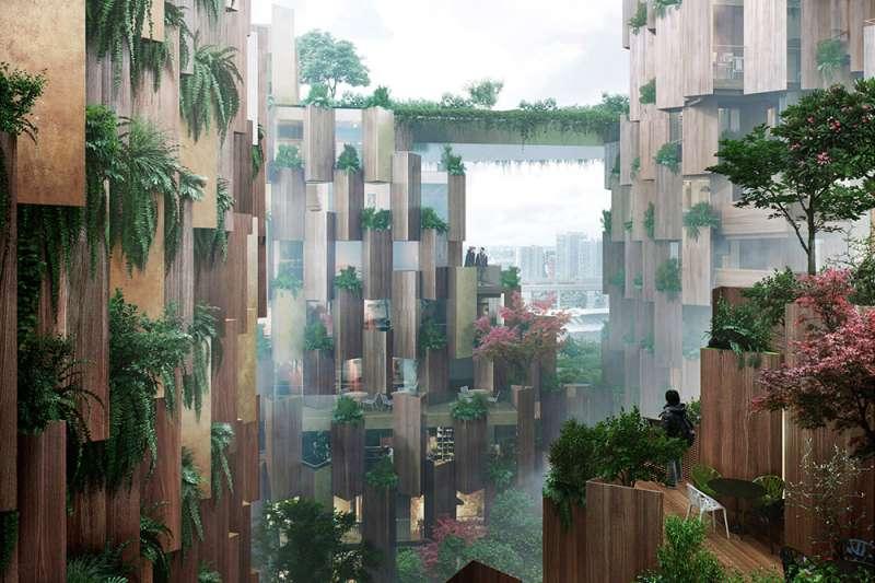 「巴黎1號飯店」就像是城市中的綠洲,走入其中被綠意和溫暖的木質建材環繞,遠離城市喧囂,彷彿身、心、靈都得到了放鬆。(圖/取自Dezeen,瘋設計提供)