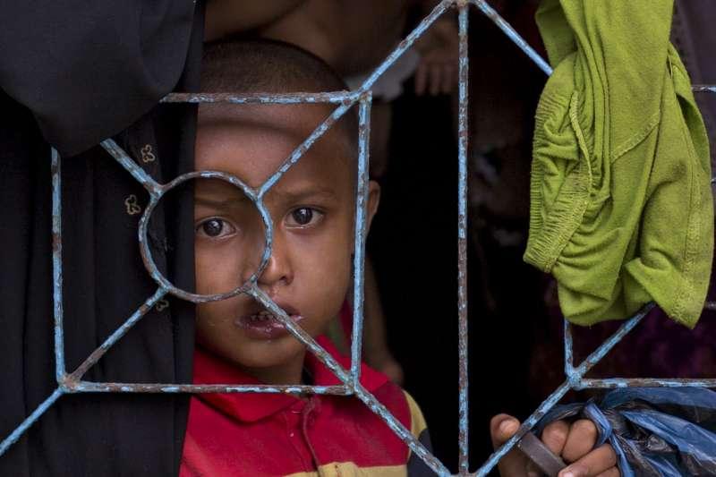 逃離到孟加拉的羅興亞難民兒童,圖非當事人。(美聯社)