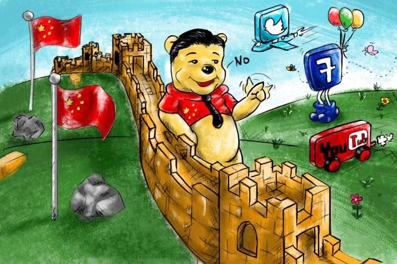 中國習近平政權打造網路長城,全面監控中國網民,收緊控制,封鎖YouTube、臉書、推特等(風傳媒/鄭力瑋製圖)