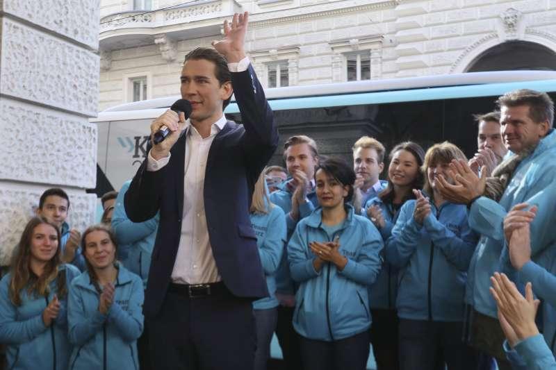 奧地利人民黨(ÖVP)黨魁、現任外交部長庫爾茲(Sebastian Kurz)可能接下總理大位。(AP)